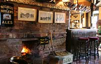 Interior of a canalside pub